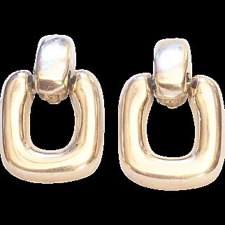 Puffy Doorknocker Clip Earrings .925 Sterling Silver Dulce Plateros Taxco Mexico