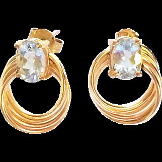 Aquamarine 14K Gold Post Earrings Est. 2 carats 1.9 Grams Modern