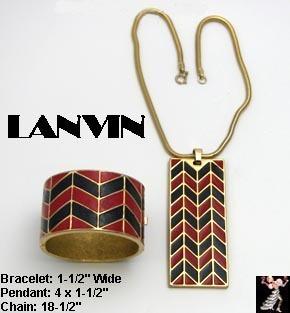 Lanvin Necklace Bracelet Set Vintage Enamel Blue Red Gold Tone