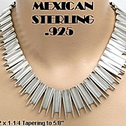 Mexican Sterling Silver Necklace Modernist Design Signed Vintage