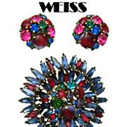 Weiss Pin Earrings Set, Ruffle Style Pin Special Rhinestones