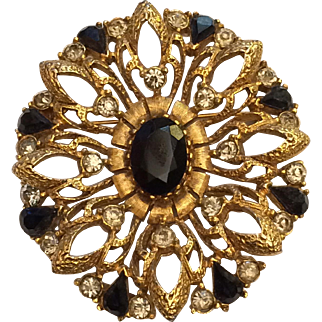 Florenza Signed Brooch Pin Jet Black Rhinestones Gold Tone
