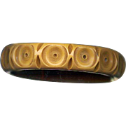 Carved & Cut Through Vintage Bullseye Bakelite Bangle Bracelet