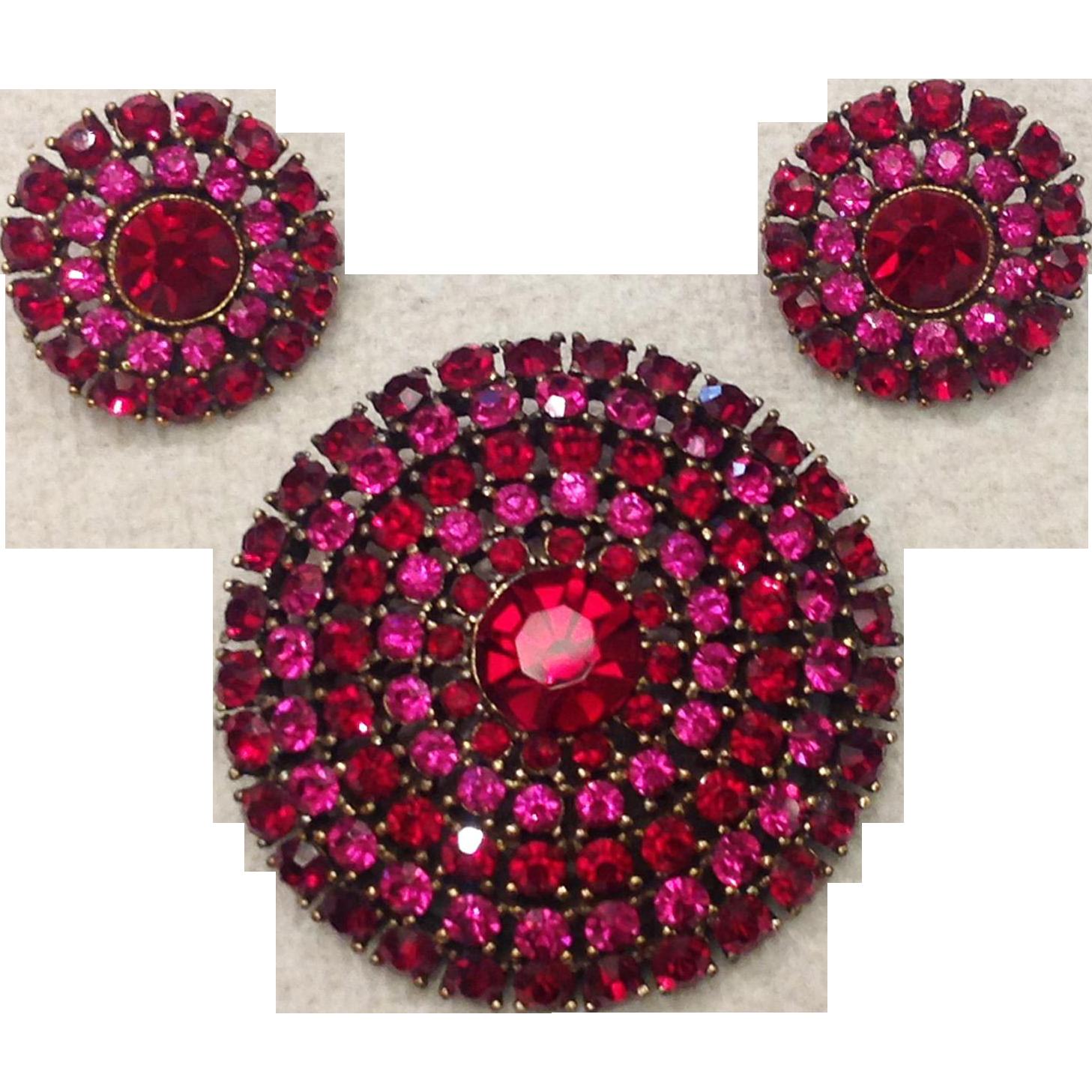 Weiss Red Fuchsia Rhinestone Pin Earrings Set