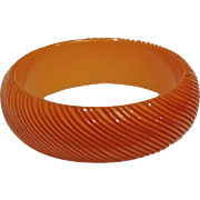 Vintage Hairpin Carved Pumpkin Colored Bangle Bracelet