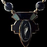 Art Deco Black Czech Glass Flamingo Intaglio Glass Bead & Enamel Necklace