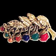 Little Nemo LN/25 Berries Pin Brooch Multicolor Simulated Semiprecious Cabochons Gold Tone