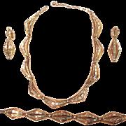 Trifari Modern Channel Set Baguette Rhinestone Gold Tone Necklace Set