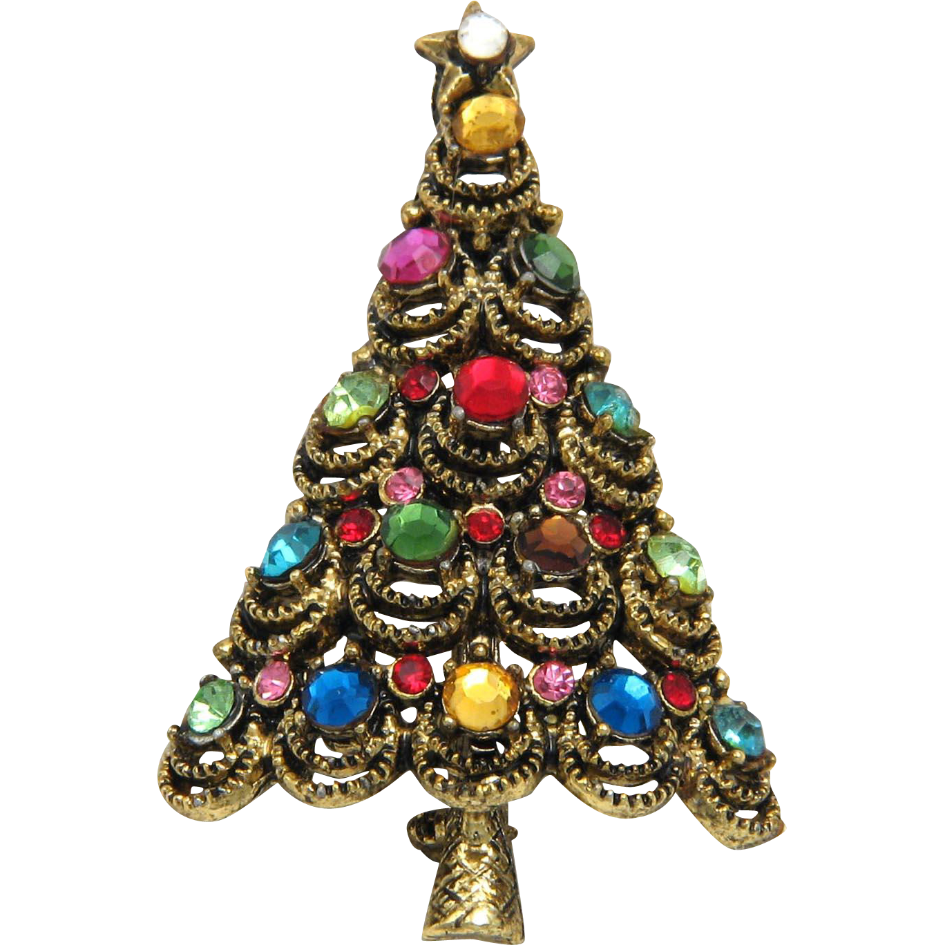 Hollycraft Christmas Tree Pin Brooch Multicolor Rhinestones Gold Tone