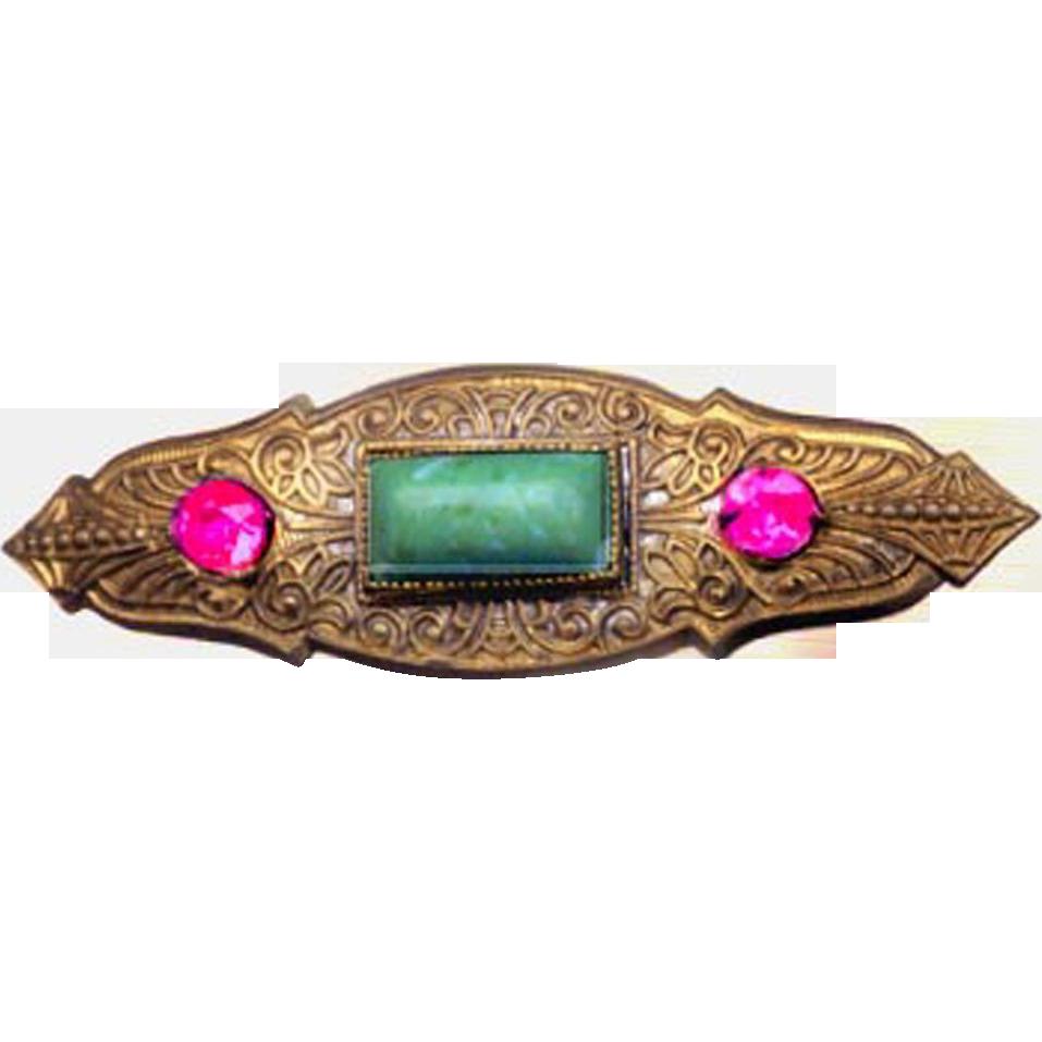 Czech Egyptian Art Deco Pin Brooch, Egyptian Art Deco