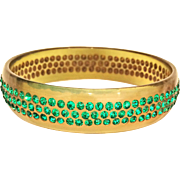 Wide Celluloid Bangle Bracelet Bright Green Rhinestones - 3 Rows!