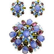 Schreiner (Unsigned) Domed Pin Brooch Earrings Set Blue Amethyst Color Olive Silver Tone