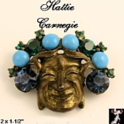 Hattie Carnegie Face Pin: Vintage Hattie Carnegie Mask Pin