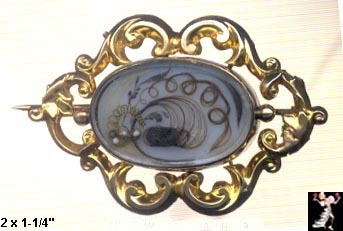 Victorian Mourning Brooch: 14K Victorian Mourning Pin Hair