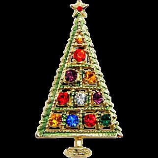 Signed B.J. Rhinestone Christmas Tree Pin Brooch - Book Piece!