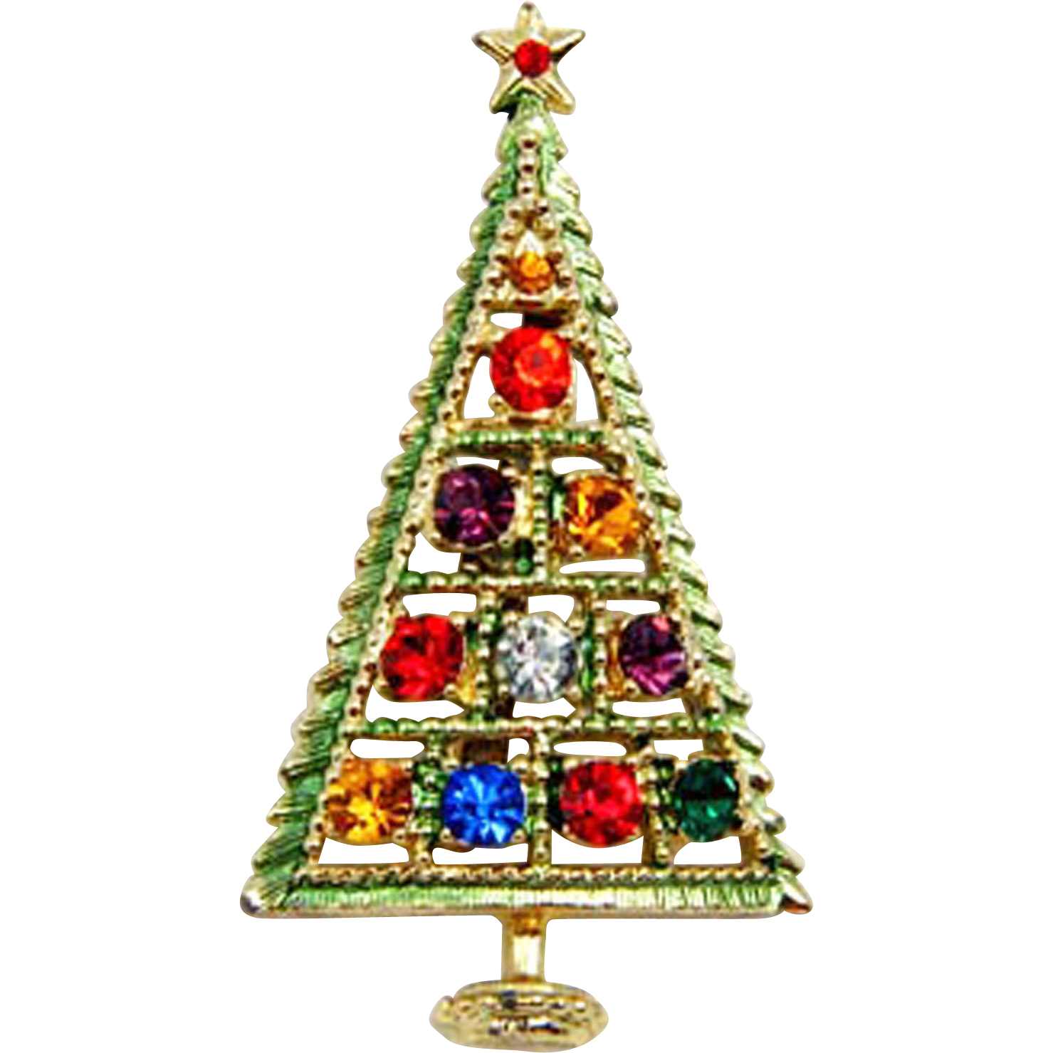 Signed B.J. Rhinestone Christmas Tree Pin Brooch - Book Piece!