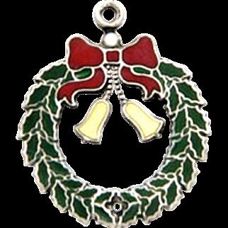 Vintage Christmas Wreath Bells Charm Sterling Silver Enamel Signed JMF