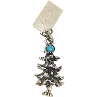 Vintage Christmas Tree Charm Sterling Silver by Bell Simulated Turquoise Cabochon