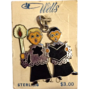 Vintage Wells Sterling Enamel Christmas Choir Boys Charm - Mint on Original Card