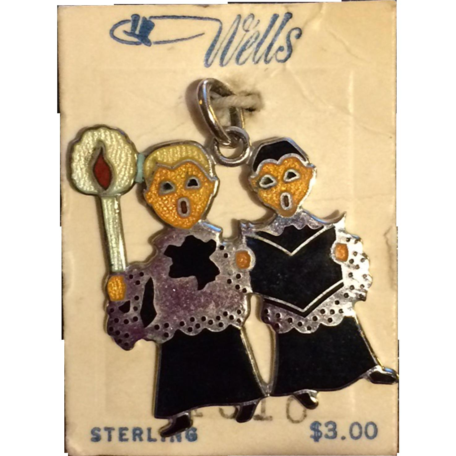 Vintage Wells Sterling Enamel Christmas Choir Boys Charm - Mint on Original Card