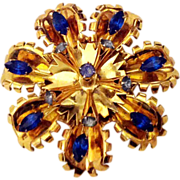 "Huge 3"" Gold Vermeil Sterling Pin Brooch Shades Blue Rhinestones"