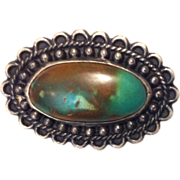 Native American Turquoise Sterling Silver Pin - Gorgeous!