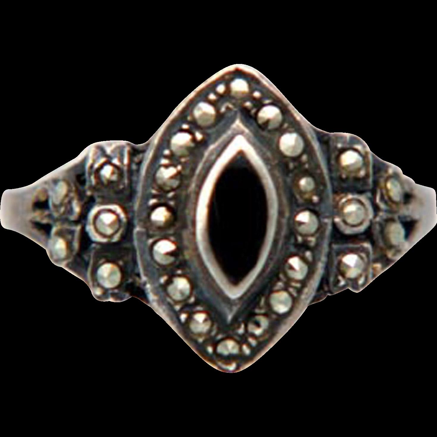 Vintage Art Deco Marcasite Black Tourmaline Sterling Ring Size 9
