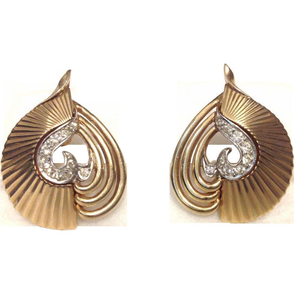 Boucher Rhinestone Gold Tone Clip Earrings - Pristine!