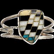 Early Native American Santo Domingo or Zuni Chevron Inlay Sterling Silver Cuff Bracelet