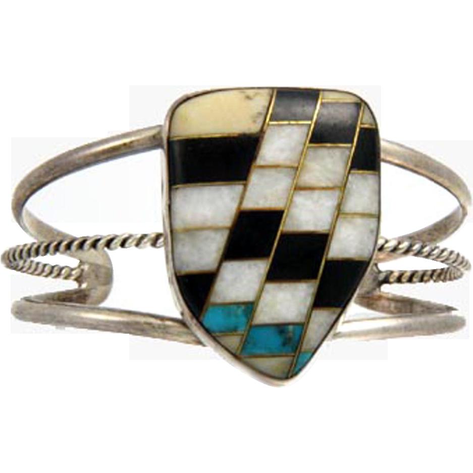 Early Native American Santo Domingo or Zuni Chevron Inlay Sterling Silver Bracelet