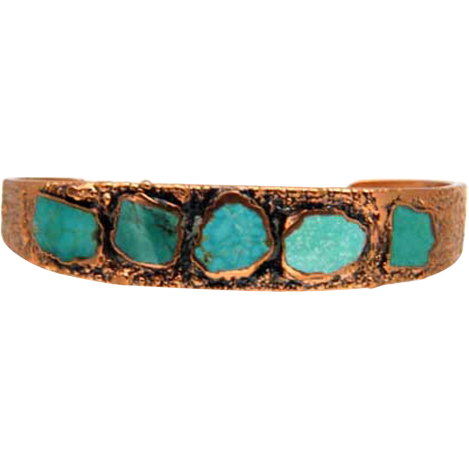Old Bell's Trading Post Copper & Inlaid Turquoise Vintage