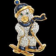 Swarovski Swan Signed Skiing Teddy Bear Christmas Brooch Pin