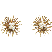 Vintage Mid Century Modern Modernist Sputnick Clip Atomic Earrings Yellow Gold Filled Simulated Pearl
