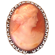 Victorian / Edwardian Shell Cameo Pin Brooch Pendant 800 Silver Gilded Bezel