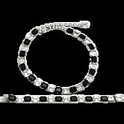 Kramer Rhinestone Necklace Bracelet Set Jet Black & Clear Rhinestones Silver Tone