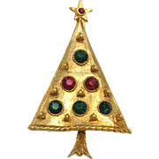 Red & Green Rhinestone Christmas Tree Pin Brooch