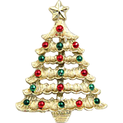 Vintage Gerrys Christmas Tree Pin Brooch Red Green Enamel Gold Tone