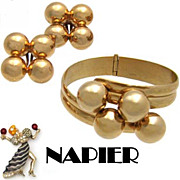 Vintage Napier Goldtone Orbs Bypass Bracelet & Earrings Set