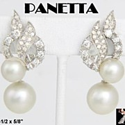 Panetta Earrings: Vintage Panetta Simulated Pearl Clip Drop Earrings