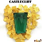 Castlecliff Pin: Vintage Modernist Green Trapezoid Rhinestone Nugget Design Castlecliff Pin Brooch