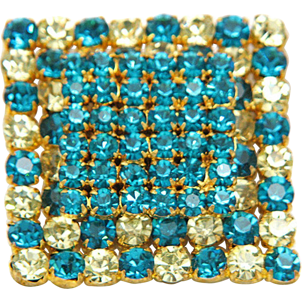 Austria Modernist Teal Lemon Rhinestone Gold Tone Square, Layered Pin Brooch