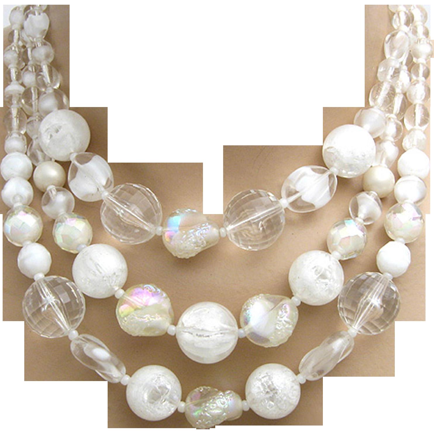 West Germany 3 Strand Art Glass Givre Necklace