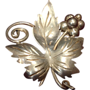Taxco Mexico Signed Sterling Leaf Pin Brooch by Ana