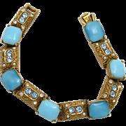 ART Bracelet Simulated Turquoise & Rhinestone & Rich Gold Tone Signed Bracelet - Book Piece!