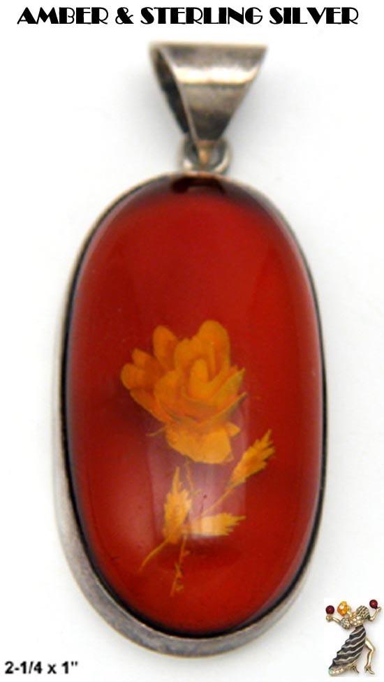 Amber Pendant: Vintage Amber Carved Rose Sterling Silver Pendant