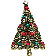 Pakula Christmas Tree Pin Brooch Red Green Rhinestones Gold Tone Vintage Signed