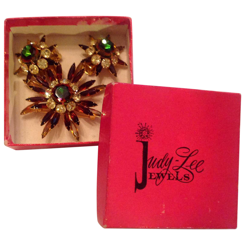 Original Judy Lee Signature Box Watermelon Pin Earrings Set