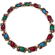 Vintage Trifari Jewel Tone Fruit Salad Rhinestone Necklace