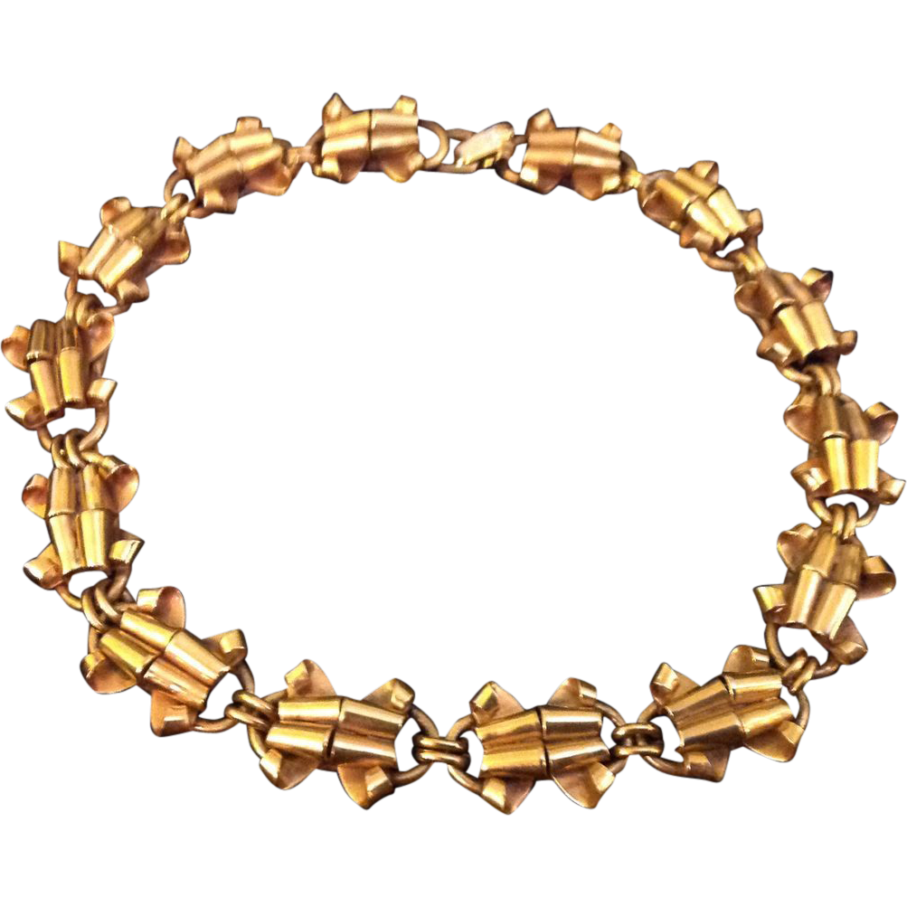 Modernist Industria Argentina Gold Tone Necklace