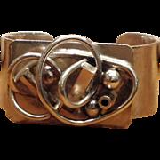 Modernist 1960s Sterling Silver Cuff Bracelet 104.8g